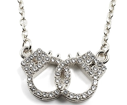[Small Petite Silver Tone Crystal Pave Handcuffs Necklace Halloween Fashion Jewelry Gift] (Halloween Costume Ideas 50 Shades Of Grey)