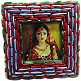 Handcrafted Material Antique Beaded Picture Frame Home Decor Table Top Vintage Style Indian Decorative Family...