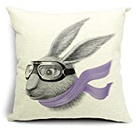 Bumud Cotton Linen Animal Square Decorative Throw Pillow Case Cushion Cover (Rabbit) by Bumud by BBVUStroe