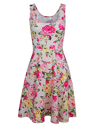 Tom's Ware Womens Casual Fit and Flare Floral Sleeveless Dress TWCWD054-BEIGE-US S