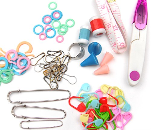 ALL in ONE (Tool Pin Marker Kit) Split Ring Marker, Stitch Ring Marker, Plastic Locking Stitch Marker, Yarn Scissors with Lid, Silicone Needle Cap, Soft Ruler, Knit Count, Thimble (Split Ring Stitch Markers compare prices)
