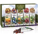 Tea Forte HERBAL RETREAT Single Steeps Organic Herbal Tea Loose Leaf Tea Sampler, 15 Single Serve Pouches, Relaxation Tea