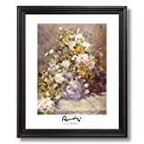 Renoir Spring Flower Vase Home Decor Wall Picture Black Framed Art Print