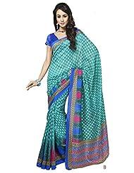 Saraswati Indian Bhagalpuri Silk Sky Blue Printed Saree Sari