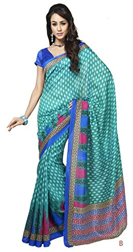Saraswati Indian Bhagalpuri Silk Sky Blue Printed Saree Sari