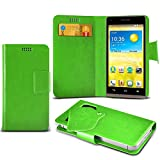 ONX3 (Green) HTC Rhyme Super Thin Faux Leather Wallet Flip Suction Pad Skin Case Cover With Credit / Debit Cards Slot