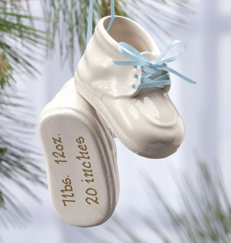 Personalized Baby Bootie Ornament - Boy or Girl (Blue)