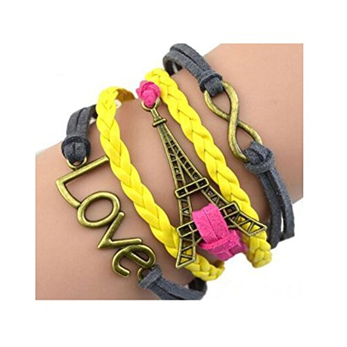 Darkey Wang Fashion Unisex Leather Bracelet Multi-Layered Chain (4#) (Cute Halloween Fundraising Idea)