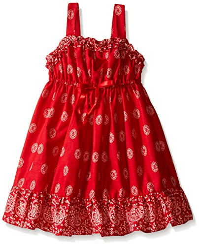 Blueberi Boulevard Little Girls Bandana Sundress, Red, 6