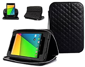 SUPCASE Designer Series Portfolio Leather Case for New Google Nexus 7 2nd Generation 2013 Version Tablet - Black, Business Card Holder, Support Landscape/Portrait View, Detachable Frame, Compatible with All New ASUS Google Nexus 7 2/II