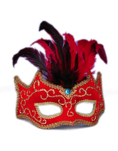 Red And Gold Best Ever Venetian Carnival Eye Mask With Feather Plume - 1