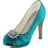 ElegantPark EP2015 Women Pumps Closed Toe Platform High Heel Buckle Satin Prom Evening Dress Shoes Teal US 8