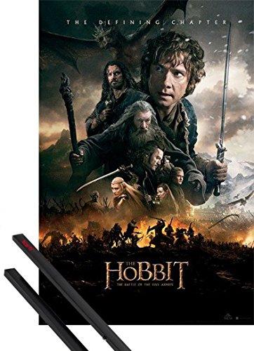 Poster + Sospensione : Lo Hobbit Poster Stampa (91x61 cm) Battle Of Five Armies, Locandina e Coppia di barre porta poster nere 1art1®