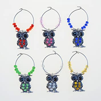 Cheers Metal Wine Charms - Owl | Puzzled