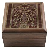 Jewelry Box in Wood Islamic Art Decor Inlay and Carving Size: 10 X 10 X 5.7 Cmby ShalinIndia