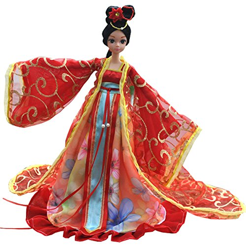 [Beautiful Chinese Style Handmade Ancient costume Dress for 11.8 Doll Princesse] (Cheap Diy Family Halloween Costumes)