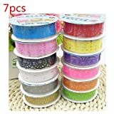 7pcs Cute Lace Flower Clear DIY Decorative Washi Tape Masking Tape Sticky Paper Masking Adhesive Tape for Scrapbooking & Phone DIY Decoration by TheBigThumb