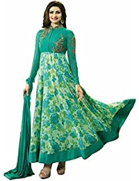 ARYAN FASHION Designer Green Printed Semistitched Anarkali Suit Semi-Stitched Suit ( Bottom Unstitched)