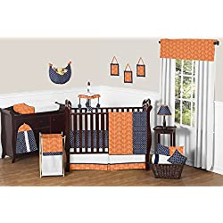 Modern Bright Orange and Navy Arrow Print Hexagon 11 Piece Crib Baby Bedding Set without bumper