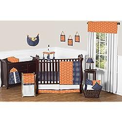 Modern Bright Orange and Navy Arrow Print Hexagon 11 Piece Crib Baby Bedding Set without bumper