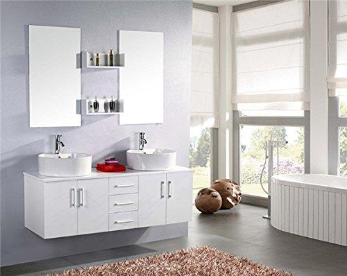 MOBILE ARREDO BAGNO MODELLO WHITE LION 150 CM ARREDOBAGNO SOSPESO RUBINETTERIA LAVABO Bianco Neve, Rubinett. e Due Lavabo inclusi