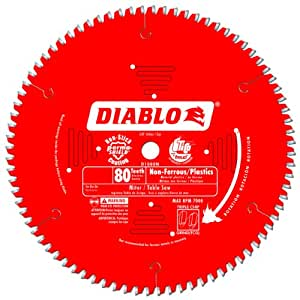 Freud D1080N Diablo 10-Inch 80 Tooth TCG Non-Ferrous Metal and Plastic Cutting Saw Blade with 5/8-Inch Arbor and PermaShield Coating