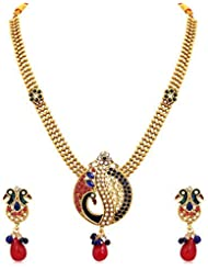 INAYA Brass Crystal And Yellow Gold Plated Necklace Set With Red & Green Chaton Stone, 1 Pair
