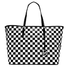 MICHAEL Michael Kors Jet Set Medium Travel Tote in Checkered White/ Black