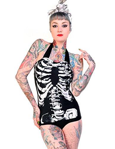Banned-Rockabilly Neck Holder costume da bagno-Scheletro anni 50Retro Swimsuit nero XS