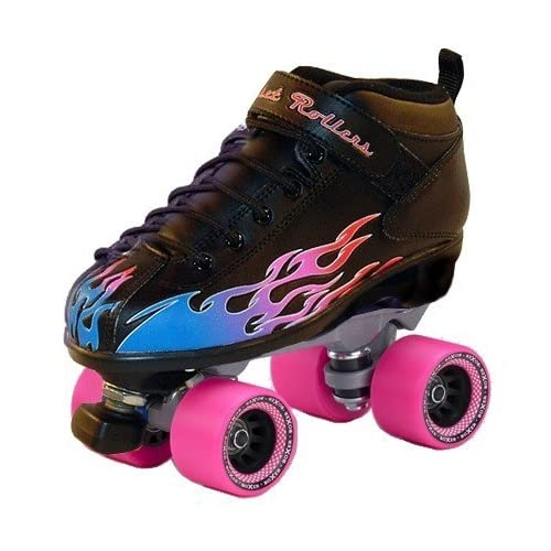 Amazon.com : Pink Flame Rocket Roller quad speed skate - Size 4 : Rink