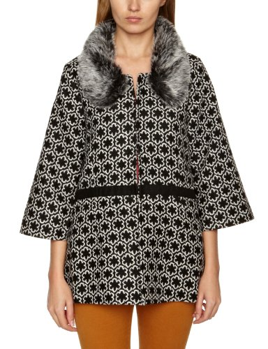 Yumi Faux Fur Collar Women's Coat Black Large