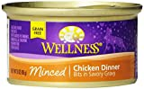 Wellness Natural Grain Free Wet Canned Cat Food, Minced Chicken Recipe, 3-Ounce Can (Pack of 24)