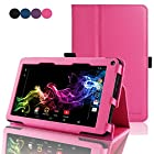 RCA 7 Voyager Tablet Case - ACdream RCA 7 Voyager Tablet 8GB Quad Core Protective Case - Folio Premium PU Leather Cover Case for RCA 7 Voyager Tablet 8GB Quad Core - Hot Pink