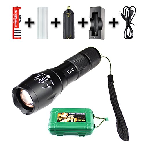 Premium flashlight - high-quality set - adjustable zoom - push-firmly - 5 lighting modes - for the practical application for the camping / Outdoor with the whole family