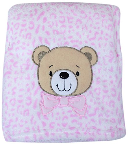 My Baby Bear Design On Leopard Print Plush Blanket, Pink front-392674