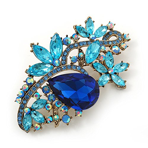 Blue Austrian Crystal Floral Corsage Brooch In Antique Gold Metal