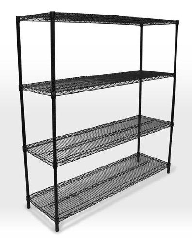 omega precision black wire shelving starter unit qty 4. Black Bedroom Furniture Sets. Home Design Ideas