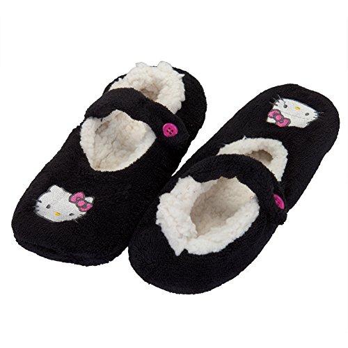 Hello-Kitty-Face-Black-Womens-Slipper-Socks