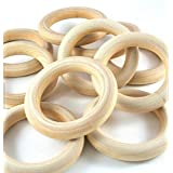 PEPPERLONELY Brand, 20 Natural Wood Rings 2-2/8
