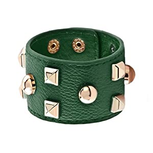 Pugster Stainless Steel Studded Emerald Green Leather Cuff Bracelet