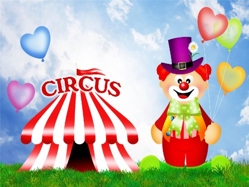 Nursery Circus Clown Big Top Tent Funny Kids Bedroom Art 12 X 16 Inch Poster Mp4378B