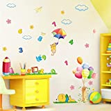 Wall Decals Play with Numbers - Easy Peel & Stick Wall Art Decor - Baby/ Kids Nursery Room Decorative Stickers