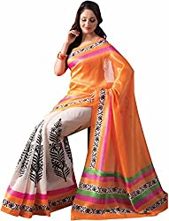 ROCKCHIN FASHIONS Women's Silk Saree (RC-2010_Orange)
