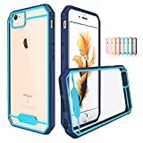 iPhone 6S Plus Case, TOTU Hybrid Bumper Scratch Proof [Crystal Clear] Protective Case with Clear Back Panel for Apple iPhone 6 Plus (2014) / iPhone 6S Plus (2015), DarkBlue/Sky Blue