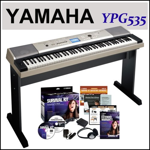 Yamaha Ypg-535 88-Key Portable Grand Graded-Action Usb Keyboard With Matching Stand And Sustain Pedal + Yamaha Sk88 Survival Kit For 88-Key Ypg Series Keyboards (Includes Headphones And Power Adapter)
