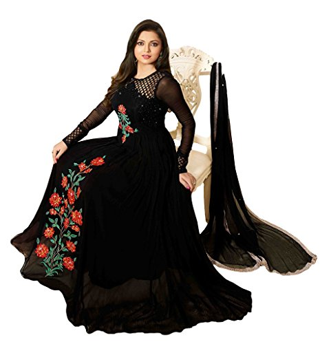 Sitaram womans semistitched georgette gown type dress material with embroidery .