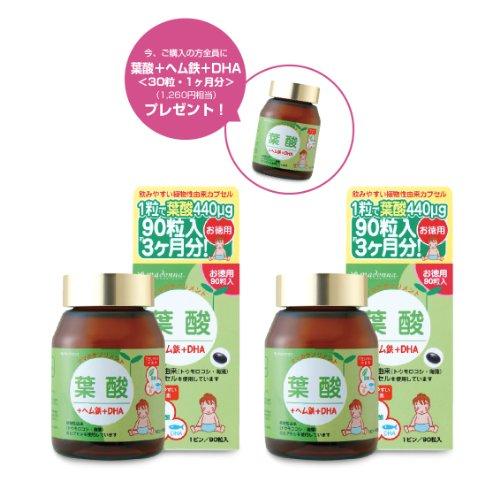 葉酸+鉄+DHA 90粒入・お徳用 ・2個セット