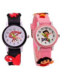 S S TRADERS -Spiderman,Dora Analog Watch And Pink Dora Analog Watches For Kids- Best Birth Day Return - Kids Watches...