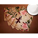 "The Home Label Vintage Rose Cotton Placemats - 18""x12"", Beige"