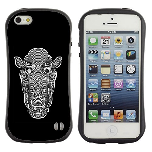 Apple Iphone 5 / 5S - iFace Series Soft Tpu Skin Bumper Case Cover (Graphic Art Rhino Black White Ink) (Rhino Shield Bumper Iphone 5s compare prices)